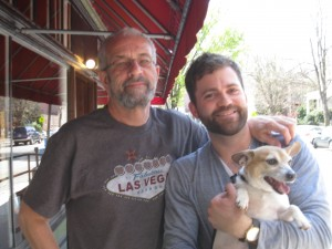 Chad Luibl with me and my dog Harry, outside the Strawberry Street Café, Richmond, VA., April 12, 2014.