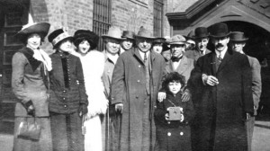 A photo taken to mark the arrival of David and William Horsely in Hollywood, California, 1911. William is on the left, dressed in a gray coat; David is the mustached man on the right, in the black coat and derby; notice that his left coat sleeve is empty; he lost his arm in an accident as a boy.