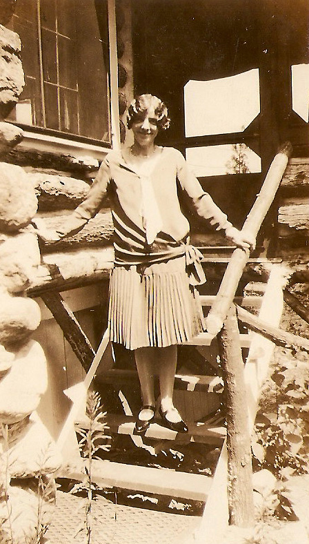 "My grandmother, Mary O'Hare in 1929 at Cranberry Lake. On the back of this photo, her daughter/my mother wrote the perfect caption: ""All dressed up and no place to go."""