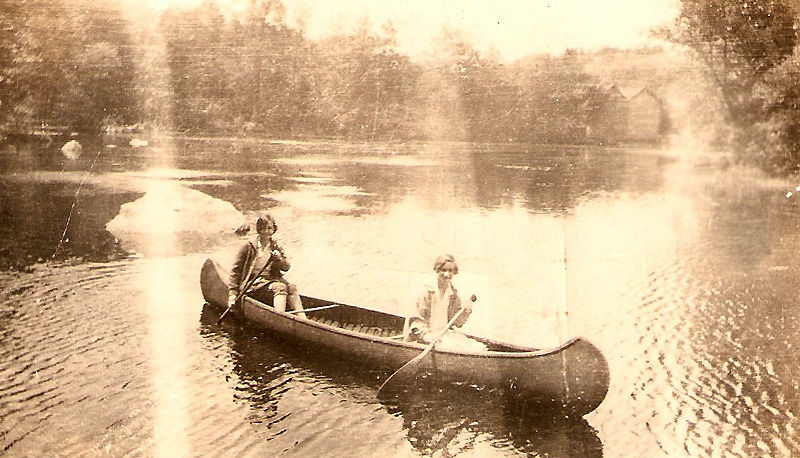 My mother, Margaret O'Hare, as a high school girl, around 1930, canoing on Cranberry Lake with her lifelong best friend, Kay O'Reilly.