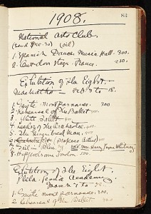 Exhibition account ledger, maintained by John Sloan