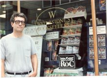 "This photo was taken by my wife Santa outside a Waterstone's bookstore in either Bath or York, England, in August 1991 during the ""Roc Roadshow"" book tour to promote the British editon of Walker of Worlds."